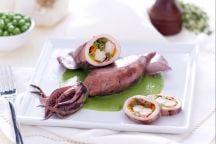 Calamari ripieni di verdure e gamberi