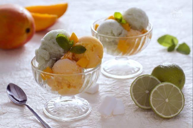Sorbetto di mango al lime e menta allo zenzero