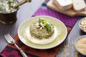 Sformato di couscous al pesto con salsa di taleggio
