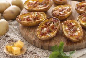 Ricetta Barchette di patate con cheddar e pancetta