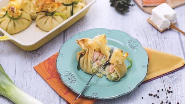 Ricetta Fagottini di porri, salmone e robiola