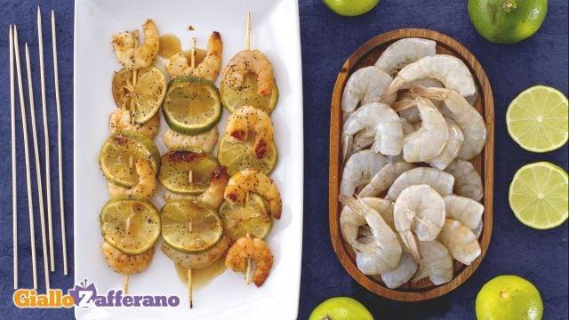 Ricetta Spiedini di mazzancolle al lime, miele e semi di papavero