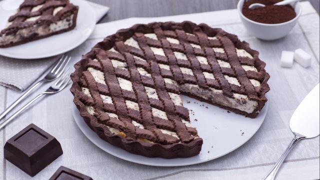 Crostata con crema ricotta e cioccolato