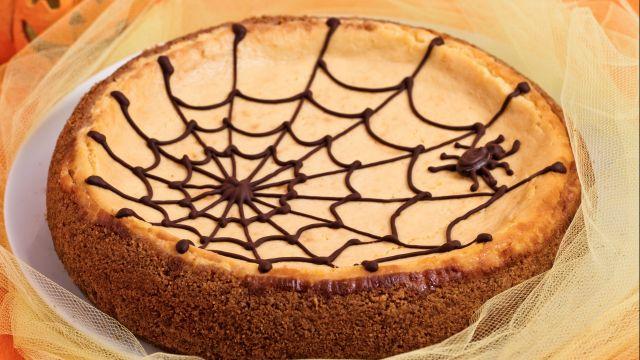 Cheesecake alla zucca con ragnatela