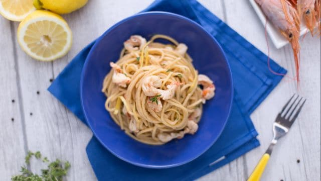 Spaghetto rigato al limone e gamberi