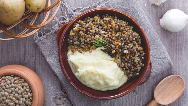 Purè di patate e lenticchie
